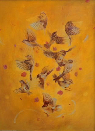 Sappho's Sparrows. Oil on panel, 2013