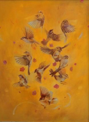 Sappho's Sparrows. Oil on panel, 2013