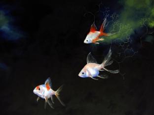 Fractal Fish. Oil on panel, 2012.