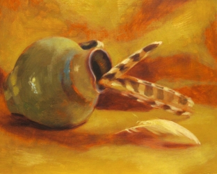 Wings and Urn. Oil on panel, 2013.